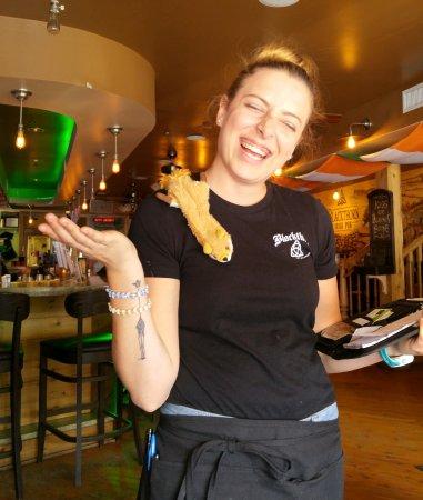 The Blackthorn Irish Pub : Ashley & our travel mascot; Vong Fong