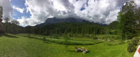 Schloss Elmau: The beautiful meadow and mountain backdrop