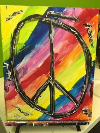 Masterpiece Mixers Paint & Party Studio: Kelly from our Art Camp shared this painting with Fox5 Atlanta for Peace in Orlando