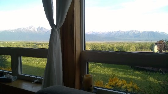 Pioneer Ridge Bed and Breakfast Inn: Morning coffee view from the living room