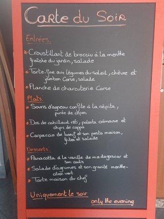 Côté Place, Restaurant Bar Glacier: Menu du soir