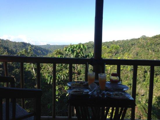 Banjar, Indonesia: Vue de la terrasse, au petit déjeuner servit en chambre
