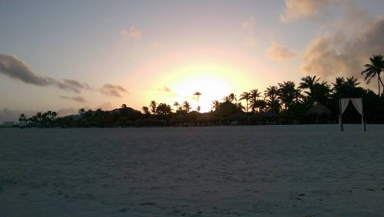 Sunrise View from the beach/ocean of Spa Del Sol (Manchebo Beach)