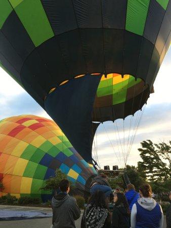Napa Valley Railway Inn: The hot air balloons right next behind the hotel
