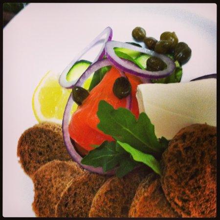 Portabella: smoked salmon