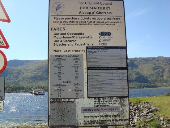 Corran Bunkhouse : les info pour le ferry (juin 2016)