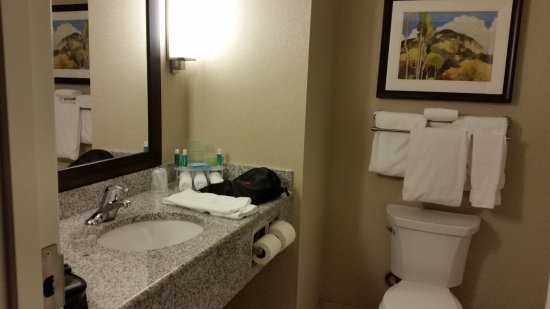 Holiday Inn Express and Suites Colorado Springs First and Main: Bathroom with granite countertop, nice products, and hair dryer