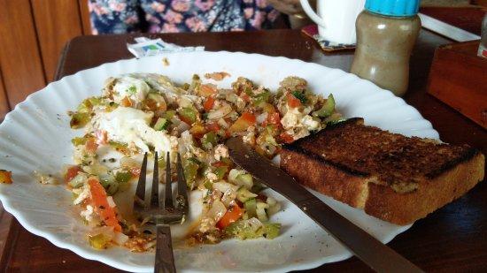 Crepe Pancake Hut Scrambled Eggs With Whole Wheat Bread