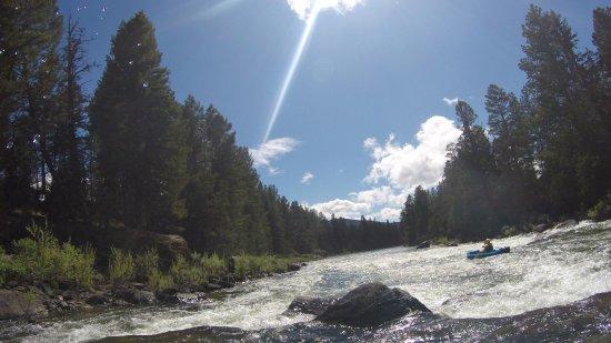 Greenough, MT: Kayaking on Blackfoot River on property