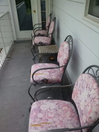 Bruce Manor: front two chairs have ripped fabric on dirty porch overlooking pool