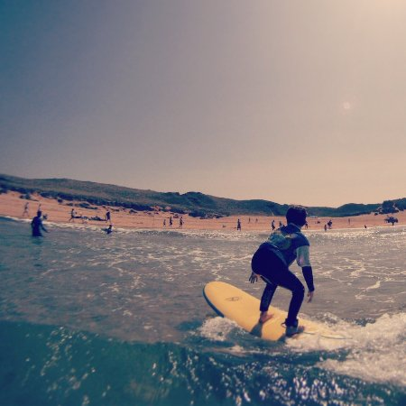 Surfing at Constantine Bay