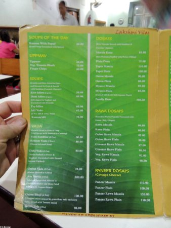 Pages from the menu at Lakshmi Vilas, good value and good food