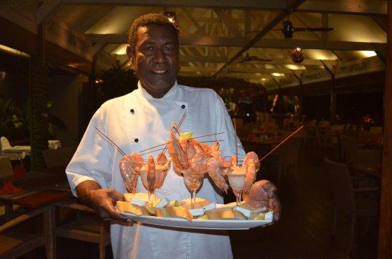 Erakor Island Resort & Spa: Chef Alec and his prawn platter