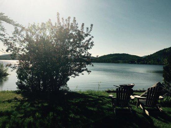 Saint Aime Des Lacs, Canadá: Vue depuis la terrasse