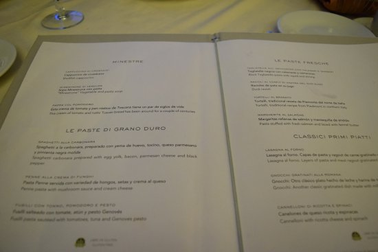 Moon Palace Cancun Sunrise Italian Restaurant Menu 2