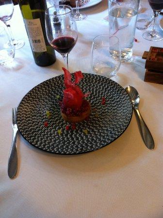 Senonches, Frankrike: dessert à la framboise