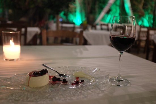 Romios Restaurant: Dry red wine and dessert
