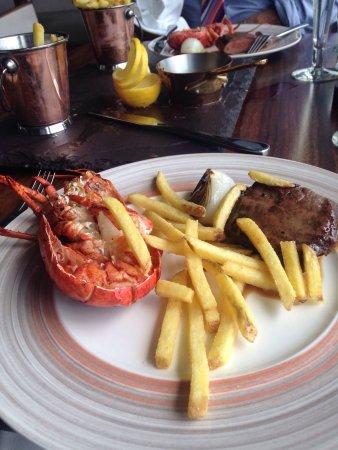 Lobster/steak...Almond/apricot tart. Delicious!