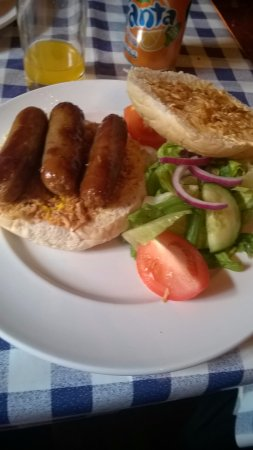 Chillingham Castle: sausage with onion/mustard relish £5.50 a must