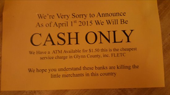 Pams #1: Cash Only notice to customers