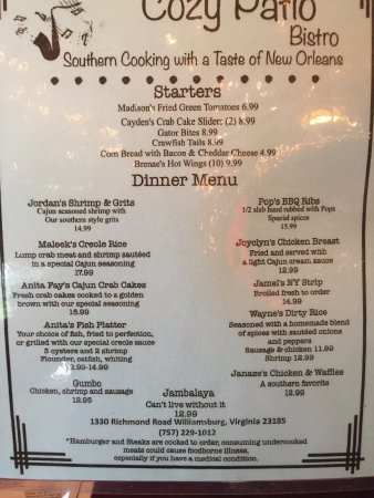 Dinner menu. Front and back - Picture of The Cozy Patio Bistro ...