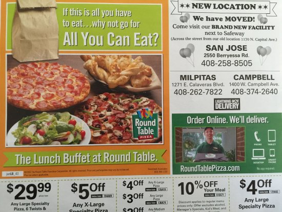 Location Moved Ad Picture Of Round Table Pizza San Jose