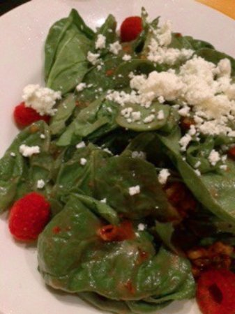 Riverside, MO: Spinach salad with perfect raspberries