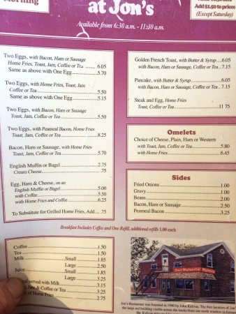 Jon's Restaurant: Menu