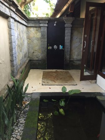 The Ubud Village Resort & Spa: Outdoor shower, complete with fish pond!