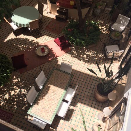 Riad Aguerzame: A view down to the central courtyard