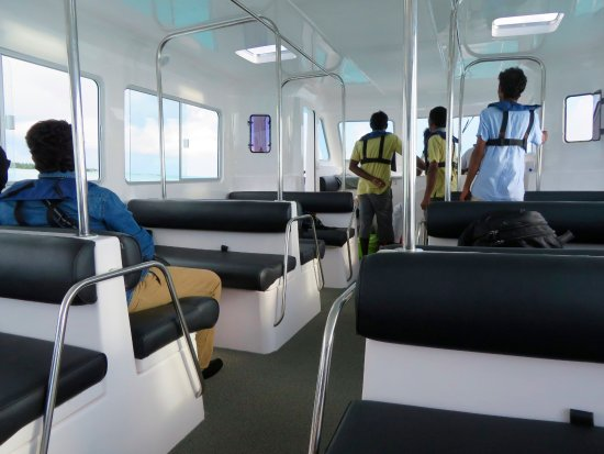 Anantara Dhigu Maldives Resort: Interior of the boat from the airport to the resort