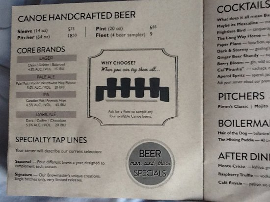 Canoe Brewpub: Handcrafted beer - core brands menu.