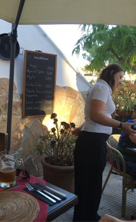 Strandkorb : Calamary with garlic- perfect. beer San Miquel- cold and goodz Staff friendly, especially waitre