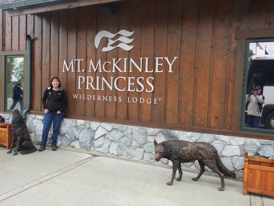 Mt. McKinley Princess Wilderness Lodge: Brass statues of animal life are scattered about.