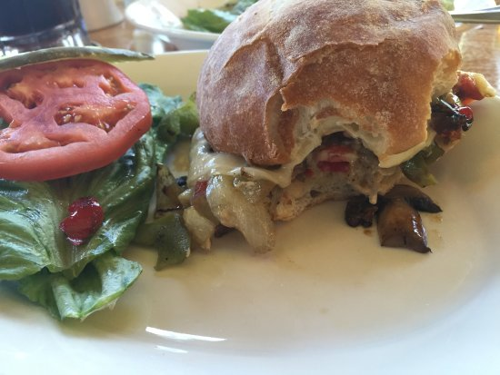 Douglas Lodge : Sauteed vegetables with cheese and a ciabatta bun