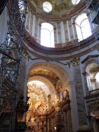 Karlskirche: scaffolding, altar and ceiling