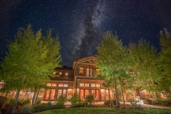 The Ranch at Rock Creek: The Granite Lodge alit on a starry Montana Night