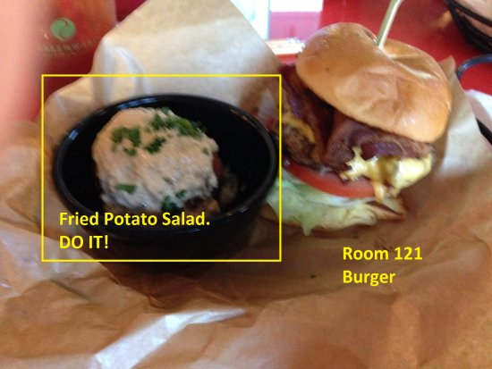 Boylan Heights: Room 121 Burger with Fried Potato Salad.