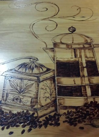 Milan, MI: The Morning Owl has beautiful counters, wood-burned by a local artist.