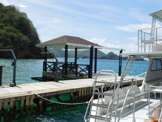 Speyside, Tobago: A gazebo on the water...a great place to just relax or wait for the water sports boats