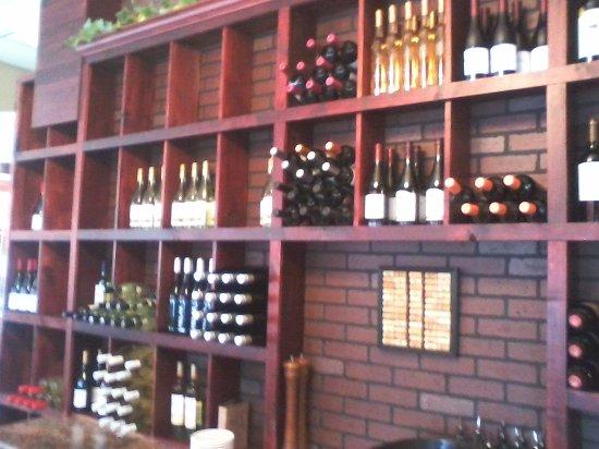 Saint Joseph, MN: The wall of wine, just inside the restaurant.