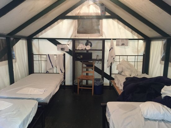 Tent with 1 double and 3 single beds picture of half for Half dome tent cabins