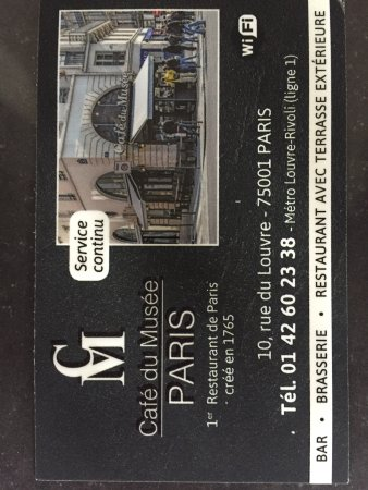 Cafe Du Musee Carte De Visite