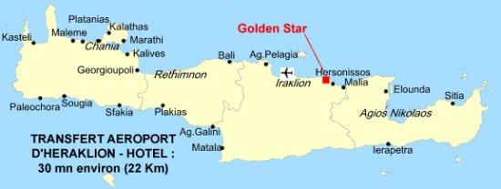 situation du Golden Star en Crête   Photo de Golden Star Hotel
