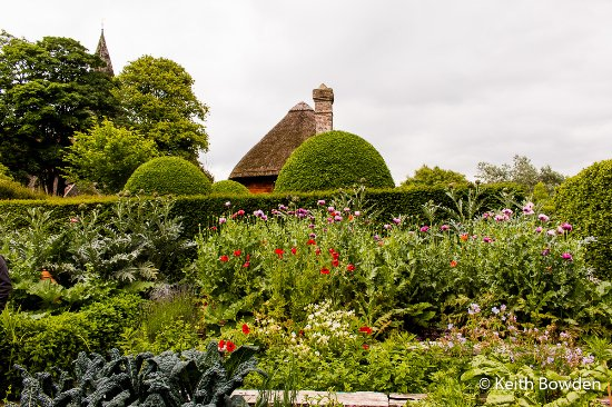 West Hoathly, UK: Raised beds with thatched roof and church spire in background