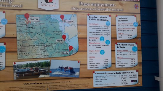 Rapina, Estonia: Информация о том куда и когда можно отправиться из порта в Ряпина.