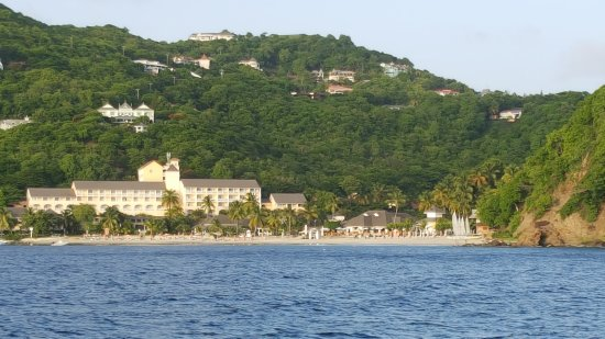 Cap Estate, St. Lucia: View of the resort from the weekly party cruise offered.