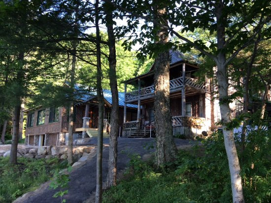 Eagle Bay, NY: New dining room to left, June cabin to right.