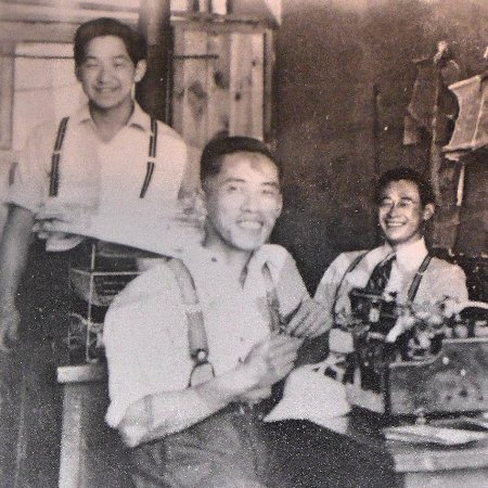 Nikkei Internment Memorial Centre : Staff of the New Canadian weekly nespaper in Kaslo. That is my father in the middle.