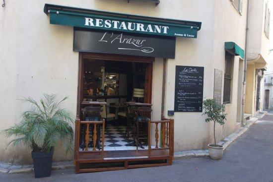 L'Arazur : L'entrée du restaurant